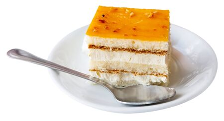Tarta de whisky - cake soaked in whiskey. Spanish dish. Isolated over white background