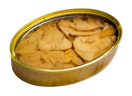 Closeup of open can of tuna preserves in oil. Isolated over white background 写真素材