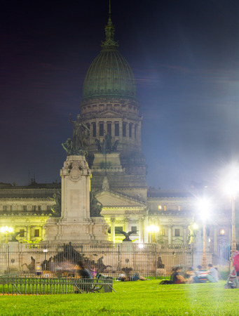 Evening view of building of National Congress of Argentina, Congress Square, Buenos Aires. Argentina, South America
