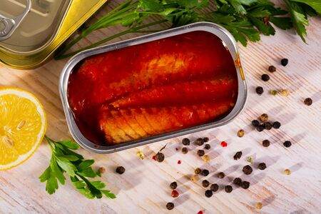Mackerel fillet in tomato sauce in can 写真素材