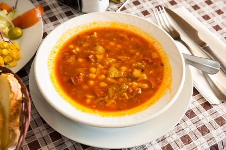 Chickpeas's soup with pepper and beef tripe, dish of spanish cuisine, nobody