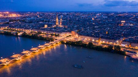 Night view from the drone on the Bordeaux. France