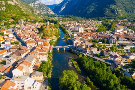 Aerial view of historical center of French town Tarascon-sur-Ariege Stock Photo