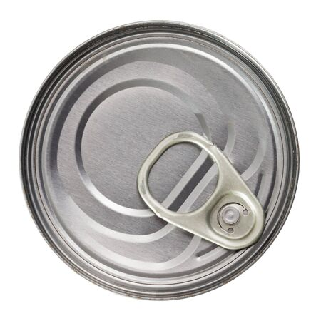 Silver tin can closeup. Isolated over white background