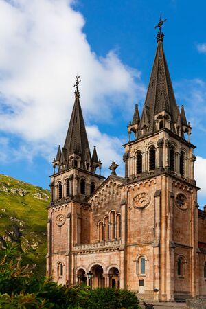 Picturesque summer landscape with monumental ancient temple Basilika de Santa Maria in Covadonga, Spain