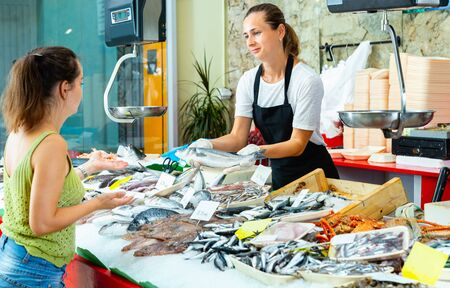 Portrait of friendly glad cheerful positive female fishmonger showing raw European bass to woman behind counter of seafood store