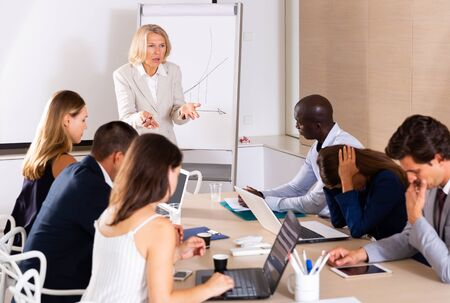 Outraged mature female boss standing near whiteboard in meeting room, expressing dissatisfaction with work of subordinates