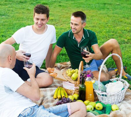 Three male friends gaily spending time together on picnic on green lawn drinking wine