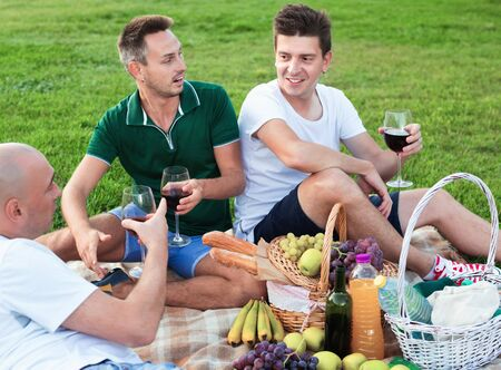 Three  cheerful  smiling adult men enjoying picnic outdoors on summer day