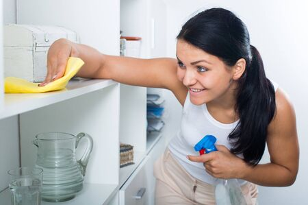 Brunette at pinafore smiling and clean up house Stock Photo