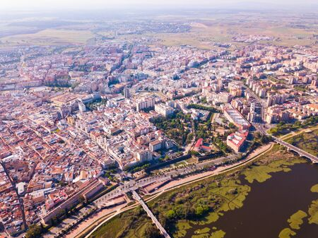 Aerial view of modern quarters of Badajos city in Spain Stock Photo