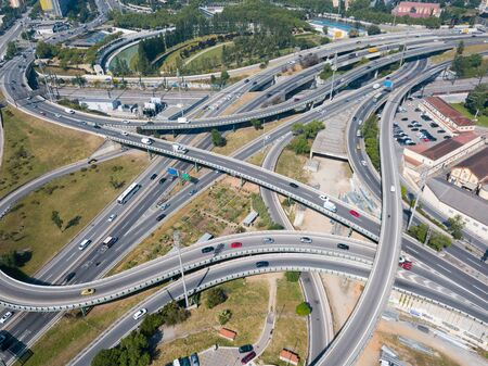 Aerial view of Barcelona flyover interchange in summer day, Spain