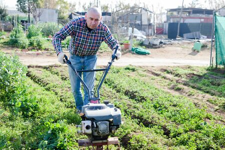 Gardener using motorized cultivator in his garden Stockfoto