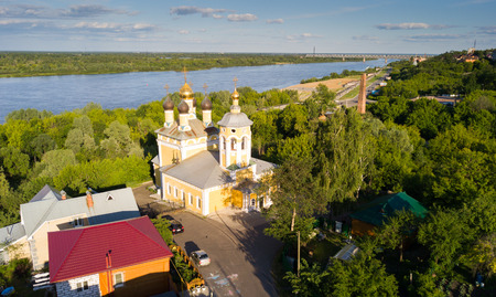 Summer  aerial view of old district of Murom with Oka, Russia