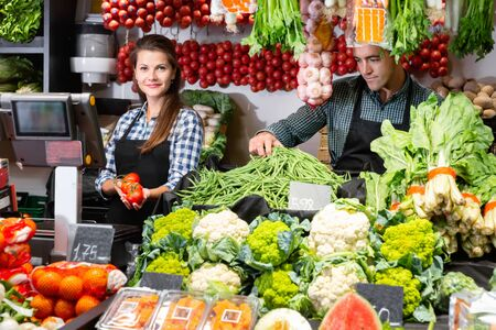 Portrait of diligent positive  female and male vegetable shop assistants laying out and weighing vegetables on scales