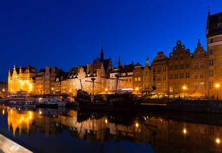 Image of night light of Moltawa River in Gdansk in the Poland. Stock Photo
