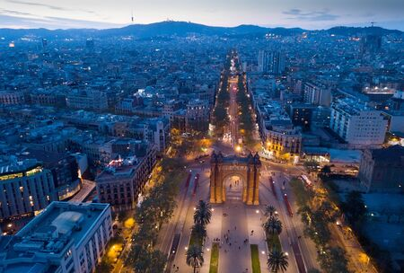 Aerial night view of Arc de Triomphe, Barcelona