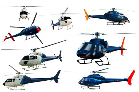 Set of helicopters in motion isolated on white background Foto de archivo - 129857372