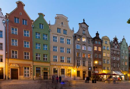 View on illumination of night streets of Gdansk in the Poland. Stock Photo