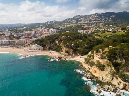 View from drone on seascape of Costa Brava in the Spain.