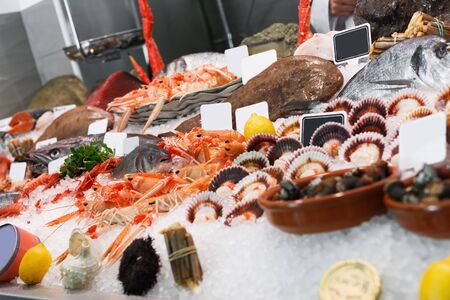 Icy fish showcase with diversity of fresh marine products in fish restaurant Stock fotó