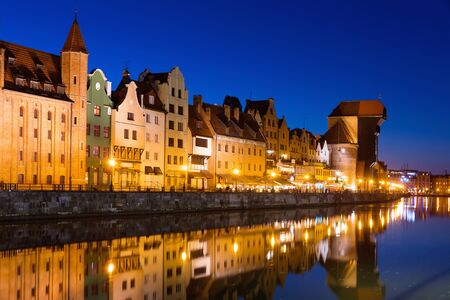 Night embankment of Moltawa River in Gdansk in the Poland. Stock Photo