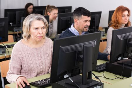 Portrait of focused mature woman during computer classes at university of third age Stockfoto