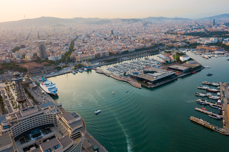Image of aerial  view of old port in Barcelona city with of sailboats and yachts Stok Fotoğraf - 130002150