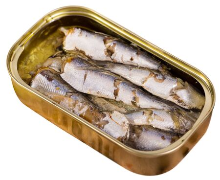 Open can of sardines. Isolated over white background