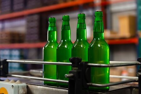 Green bottles with apple cider on bottling line in traditional Asturian Sidreria