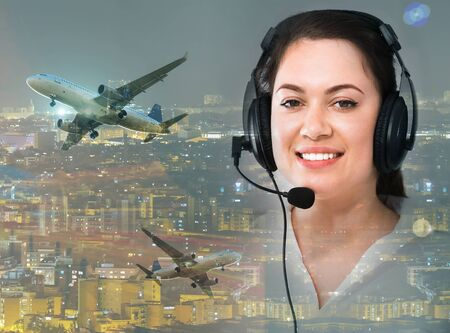 Girl dispatcher offering help in navigation for flying plane