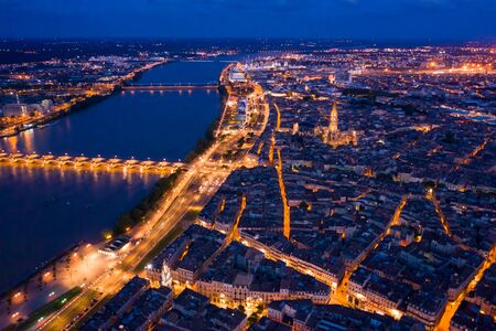 Night aerial view of historic centre of Bordeaux. France