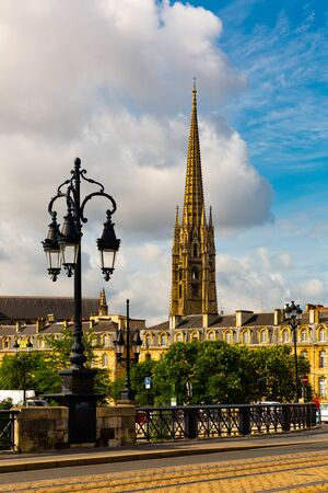 Bordeaux river bridge with St Michel cathedral. France Stock Photo