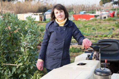 Positive woman working on small farm tractor