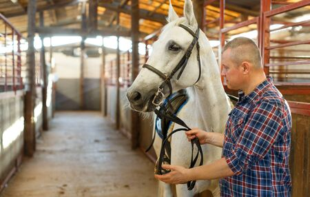 Portrait of positive man farmer  with white horse standing at stabling indoor