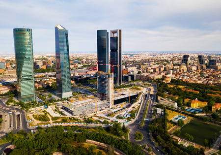 Aerial view of business skyscrapers Cuatro Torres in Madrid Editöryel