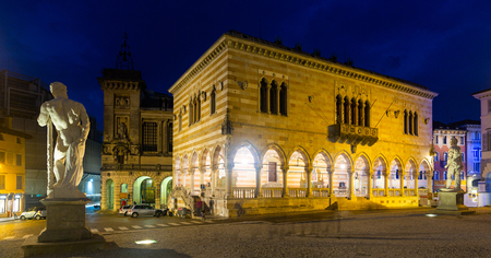 Night view of Piazza Liberty. Udine. Italy