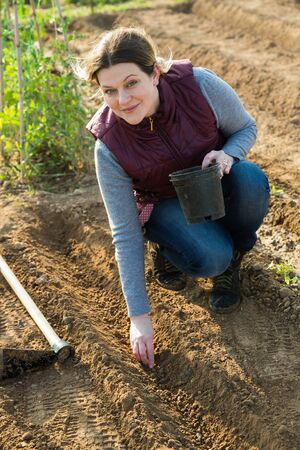 Female owner of plantation planting seeds on beds at farm