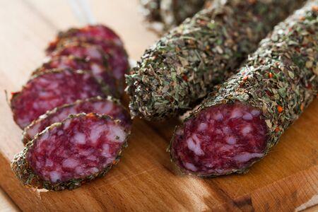 Catalan sausage fuet in herbs