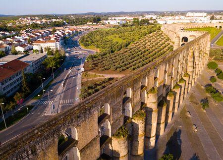 Aqueduct in old city of Elvas. Portugal