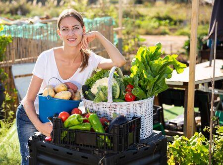 Young woman gardener with harvest of vegetables and greens in basket in  garden Banco de Imagens