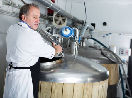 Portrait of brewer who is making beer on his workplace in the brew-house. Stockfoto