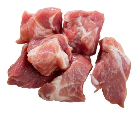 Fresh uncooked chopped pork for stew. Isolated over white background Stock Photo