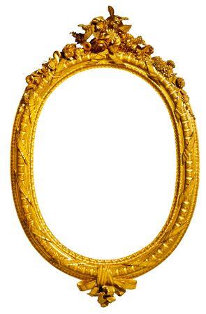 marco de fotos dorado ovalado