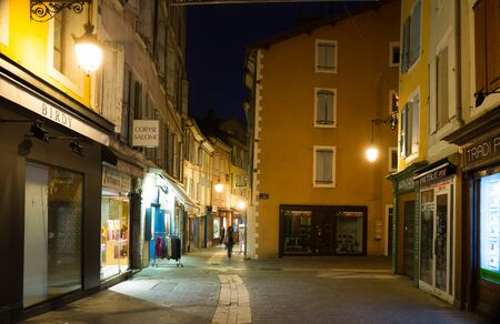 GAP, FRANCE - JANUARY 05, 2019: Picturesque cityscape of narrow Gap streets in night lights, France