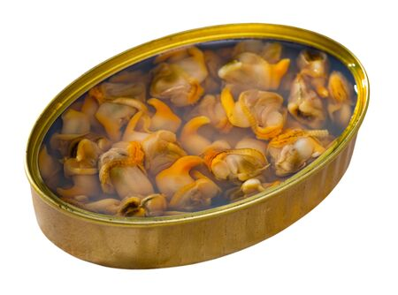 Seafood appetizer. Open can of preserved natural mussels. Isolated over white background