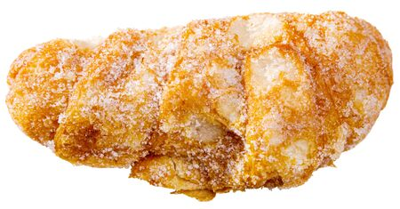 Delicious sweet Xuixo (Suso) - popular dessert of Spanish cuisine from deep-fried dough coated with sugar and filled with Catalan cream. Isolated over white background