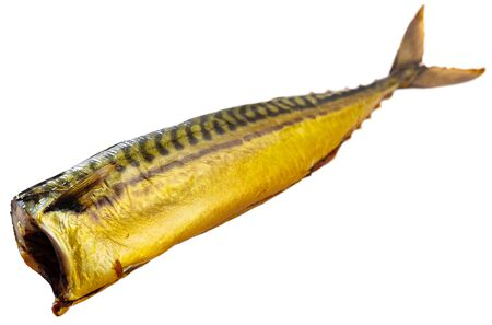 Appetizing cold smoked mackerel. Popular product of Russian cuisine. Isolated over white background 版權商用圖片