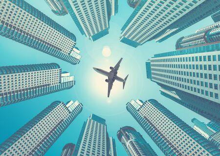 Plane flying in the skies encircled by towering buildings Archivio Fotografico