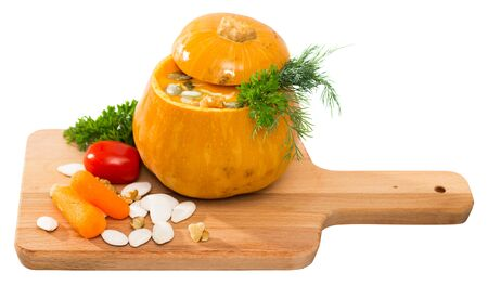 Pumpkin soup. Isolated over white background